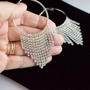 Jewelry - Rhinestone Hoop Statement Earrings